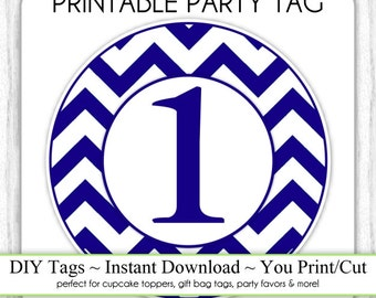 Instant Download - 1st Birthday Printable Party Tag, Navy Blue Birthday Party Tag, DIY Cupcake Topper, You Print, You Cut