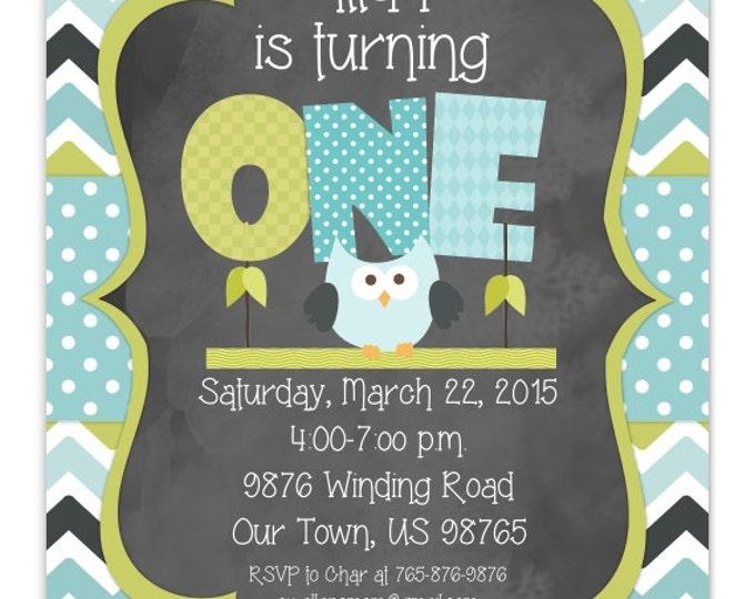 Owl First Birthday Invitation, 1st Birthday Invitation, Boy or Girl Owl Birthday Invite, Digital Design, CUSTOM for You, 4x6, 5x7, You Print