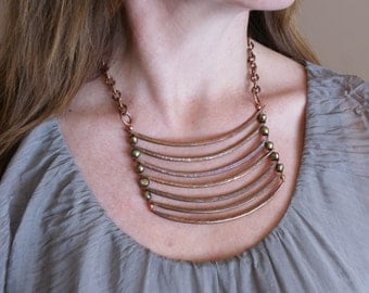 """Copper and Pearl Ladder Style Bib Necklace with Chain and Turquoise """"Memento Mori"""""""