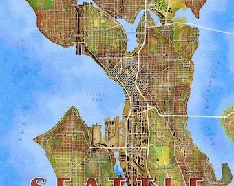Seattle map art Etsy