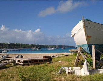 Sandy Bay in Anguilla Caribbean beach boat yard, Ocean Decor, Ocean Photography, Ocean Art, Ocean Print, Caribbean Art, Caribbean Photo