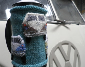Hand knitted cafetiere hug with Camper Van applique decoration