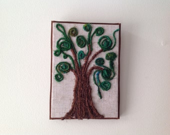 Abstract fairytale tree fibre art wall hanging