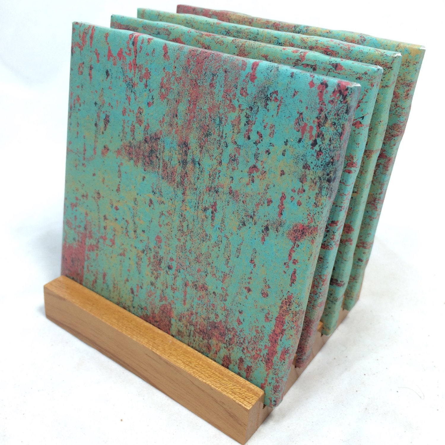 Handmade teal rust drink coasters set of four for Handmade drink coasters