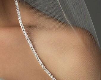 1 Layer Waist Length Veil with Rhinestone Edge