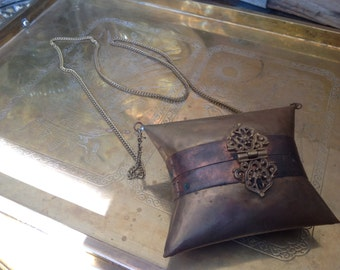 Copper and brass pillow purse 1920s