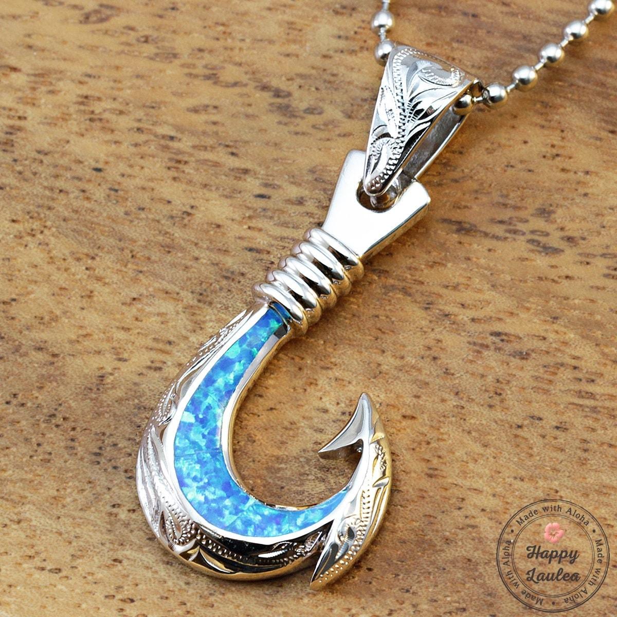 Silver hawaiian fish hook pendant with opal inlay by for Hawaiian fish hook