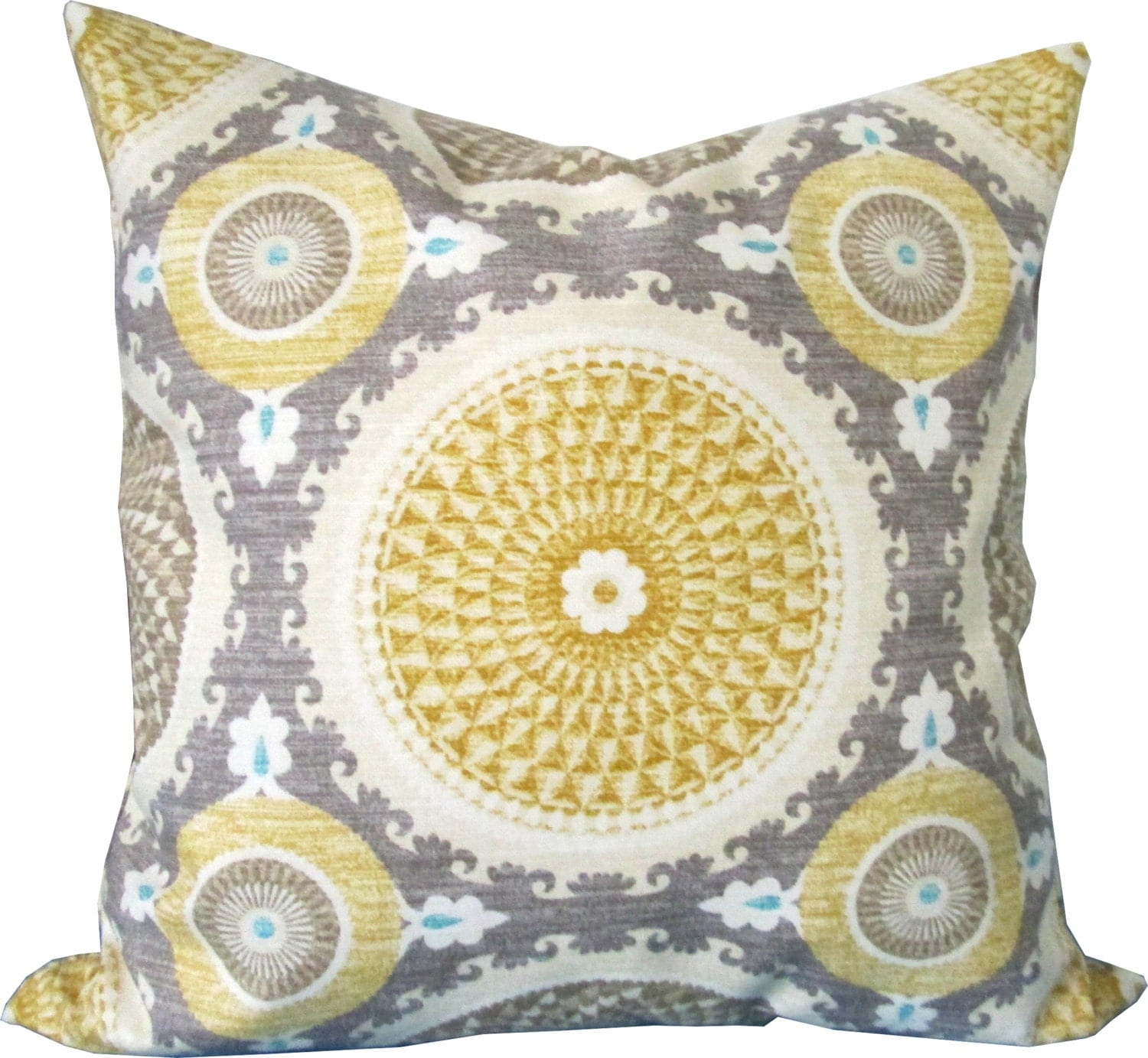 Throw Pillows Groupon : Yellow and Gray Suzani Decorative Pillow