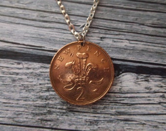British Two Pence Coin Necklace -  coin with Prince of Wales Coats of Arms -  coin pendant date 1971