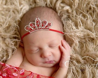 Garnet Tiara Crown Red Princess Crown Ruby Red Princess Tiara Newborn Girl Princess Crown  Newborn Girl Photo Prop