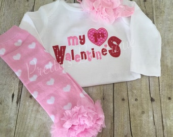 Adorable First Valentine's Day outfit headband, and legwarmers applique embroidery 1st Valentine's Day shirt~pink heart leg warmers