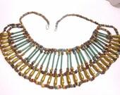 Vintage Egyptian Beaded Fan, Bib Necklace