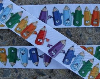 """3 yards Crayon Ribbon 1"""" School ribbon Printed Ribbon hair bow ribbon"""