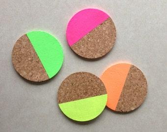 "Neon Color Block 4"" Round Cork Coaster (Set of 4)"