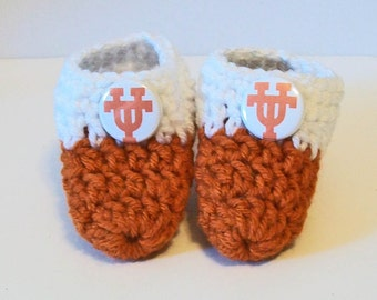 Adorable Hand Crocheted Baby Bootie Shoes Burnt Orange and White Texas Inspired Great Photo Prop Matching Hat & Bib Also Available
