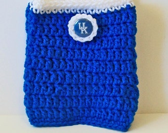Trendy Blue and White Kentucky Inspired Hand Crocheted Boot Cuffs Cute Accessory 5 Sizes Available