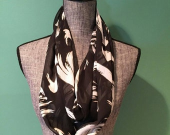 Black and White Abstract Print Infinity Scarf