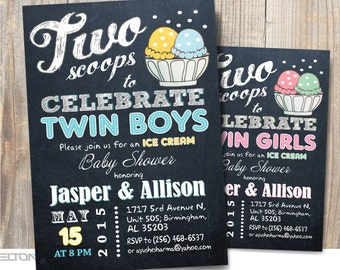Two scoops / Ice cream Baby Shower / Twins baby shower / co-ed BBQ baby shower / DIY