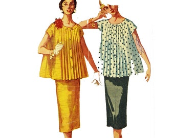 Vintage 50s Maternity Pattern . Two Piece Skirt Suit Mother To Be . Simplicity 1099 Size 12 Bust 30 . 1950s Maternity Skirt & Top Pattern