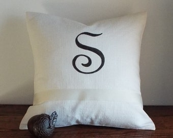 """CLEARANCE SALE 75% OFF!  S' Monogrammed Pillow Cover. 20"""" Ivory Linen with Monogram"""