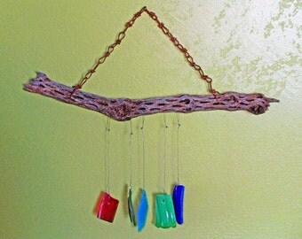 OOAK Handmade Antique Glass and Weathered Cholla Wood Trash Art Wind Chime