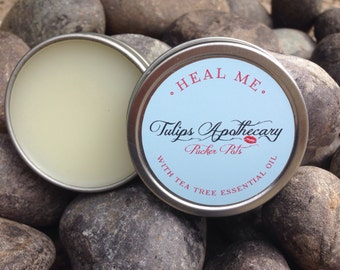 HEAL ME Pucker Pot, Tea Tree Essential Oil Lip Balm Tin, All Natural Salve, Beeswax Balm, Aromatherapy, Natural Healing Balm, Spa Gift