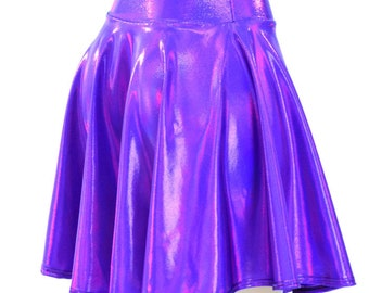Purple Holographic Metallic Skater Skirt Full Circle Stretchy Lycra Skirt -150189