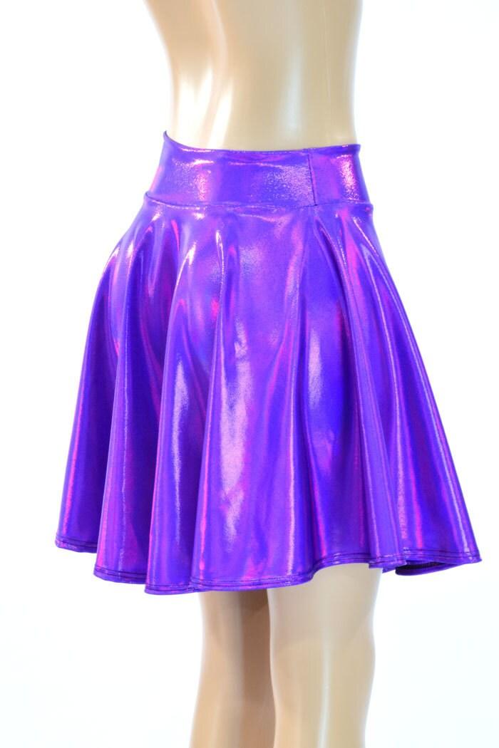 purple holographic metallic skater skirt full circle stretchy