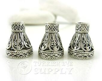 3 pc Filigree Cone Cap, Silver Plated Brass Bead Caps, Matte Silver Plated Cone Caps, Turkish Jewelry
