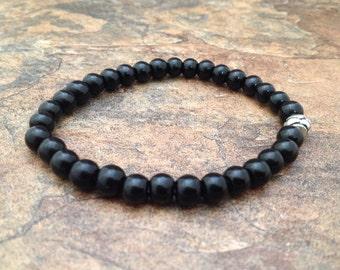 Black Onyx Beads Stretch Wrist Mala Bracelet for Meditation and Yoga