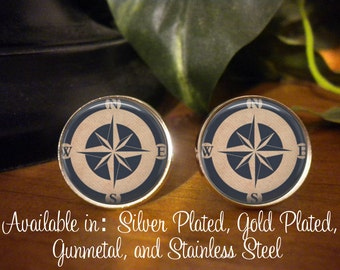 SALE! Cufflinks - Nautical Compass  - Birthday Gift