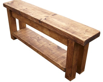Hallway bench with shoe rack storage to base rustic pine