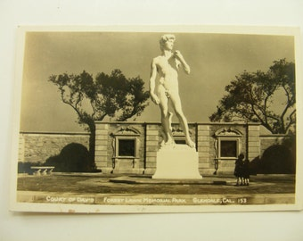 1910s Antique Real Photo Postcard, Glendale California, Court of David, Forest Lawn Memorial Park