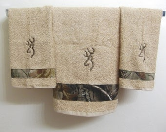 Embroidered ~CAMO BROWNING DEER~ Set of 3 Bath & Hand Towels