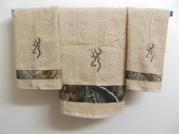 embroidered camo browning deer set of 3 bath towels