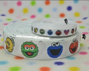 3 yards Sesame Street Faces 3/8 in or 1inch - CHOOSE DESIGN - Printed Grosgrain Ribbon