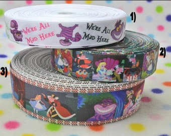 3 yards Alice in Wonderland -  7/8 in, 1 in or 1.5 inch - Printed Grosgrain Ribbon - CHOOSE DESIGN