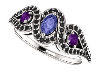 Tanzanite, Amethyst & Black Diamonds in 14K White Gold