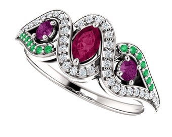 Rhodolite Garnet, Emerald, Black & White Diamonds 14K White Gold