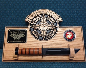 Military Carved Plaque: Marine Corps Army Navy Air Force wood sign personalized knife plaque