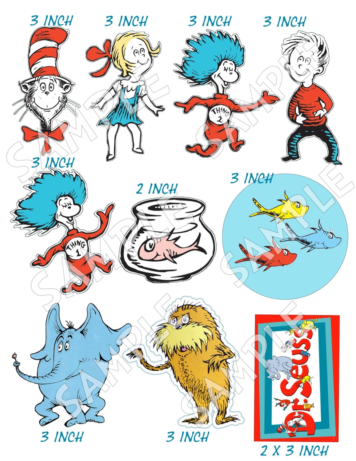 Dr. Seuss edible cake decorations Sugar by Pictures4Cakes ...