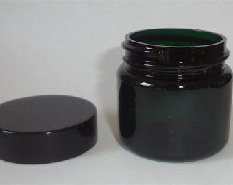 Lot of 8 1-oz Dark Green Jars with Black Lids