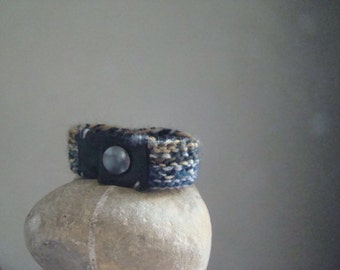 Eco boy men cuff wool leather bracelet, recycled Italian leather knitted natutal minimalistic gift for him Eco mode Christmas. From JJePa