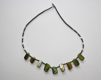 Hematite and shell necklace