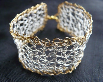 Crochet gold and silver plated bracelet /// pretty crocheted bracelet made with wires ///