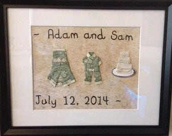 personalized wedding frame with dress and suit made from dollar bills includes cake decoration also - Dollar Bill Frame