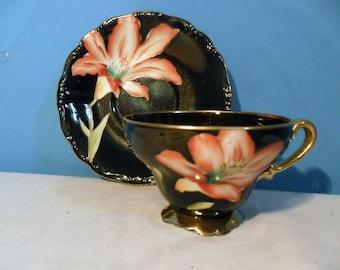 Vintage TEA CUP Saucer Set ~ Beautiful Black Vibrant PAINTED Peach Lily Flower ~ by Designer ~ Serrano