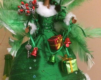 Silk and fur African American Barbie Angel Christmas tree topper up cycled doll angel