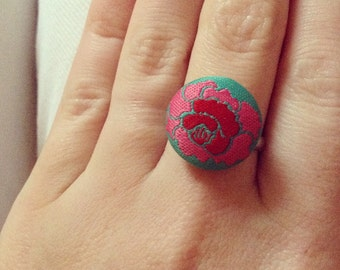 Red Rose Button Ring