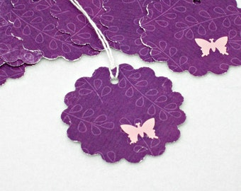 Butterfly Gift Tags, Purple Hand punched Gift Hang tags, All Purpose- Set of 8